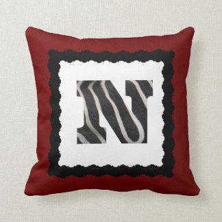 Zebra Letter N, B&W on Crimson Red/White Chevron Throw Pillow