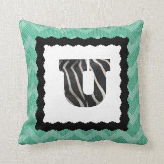 Zebra Letter U, B&W on Aqua/White Chevron Cushion