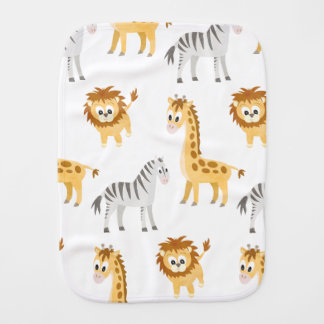 Zebra Lion and Giraffe Cute Baby Animals Burp Cloth