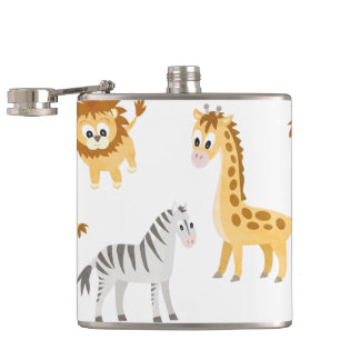 Zebra Lion and Giraffe Cute Baby Animals Hip Flask