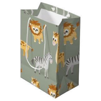 Zebra Lion and Giraffe Cute Baby Animals Medium Gift Bag