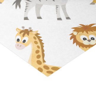Zebra Lion and Giraffe Cute Baby Animals Tissue Paper