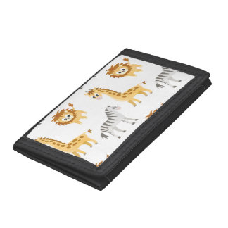 Zebra Lion and Giraffe Cute Baby Animals Trifold Wallets