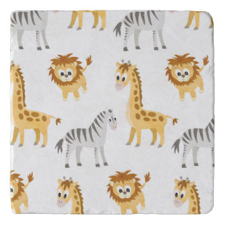 Zebra Lion and Giraffe Cute Baby Animals Trivet