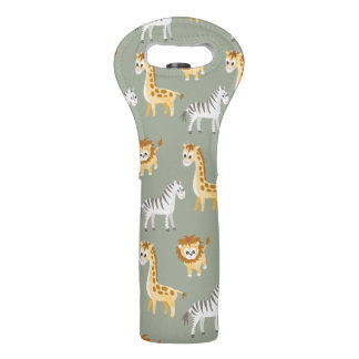 Zebra Lion and Giraffe Cute Baby Animals Wine Bag