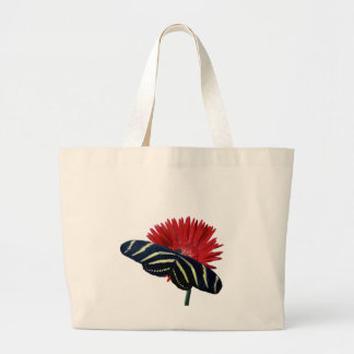 Zebra Longtail on a Daisy Large Tote Bag