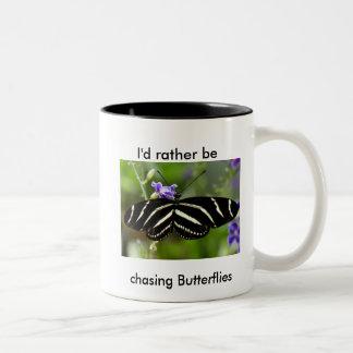Zebra Longwing Butterfly Mug. Two-Tone Coffee Mug