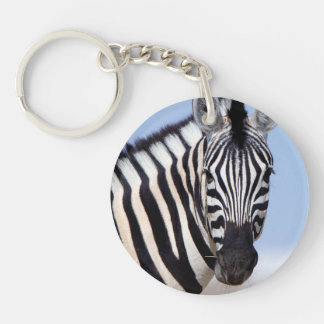 Zebra looking at you key ring