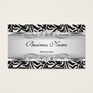 Zebra Metal Chrome Look Elegant Black White Silver