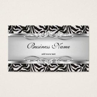 Zebra Metal Chrome Look Elegant Black White Silver Business Card