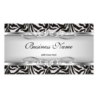Zebra Metal Chrome Look Elegant Black White Silver Pack Of Standard Business Cards
