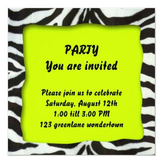 Zebra modern party invitation