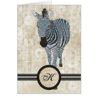 Zebra Monogram Notecard Cards