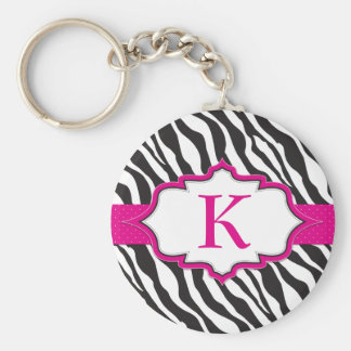Zebra Monogram Pink Ribbon Keychain