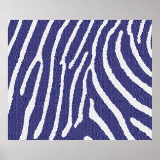 Zebra mosaic Dark blue/white Poster