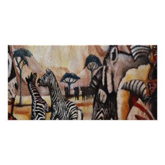 Zebra Mural Customized Photo Card