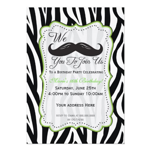 Zebra Mustache Birthday - Black & Lime Green Custom Invite