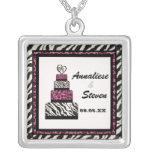 Zebra n Leopard print with wedding cake necklace