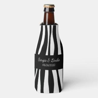 Zebra Name and Date Bottle Cooler