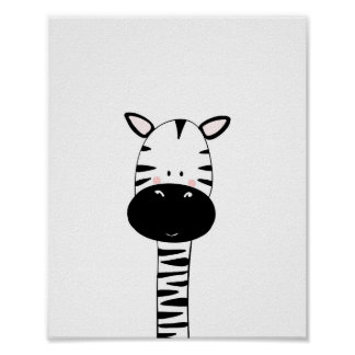 Zebra Nursery Print Black and white modern zoo