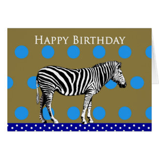 Zebra on a spotty background, Happy Birthday. Card