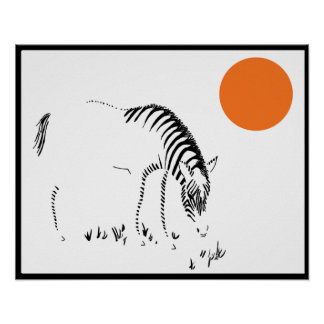 Zebra on African Plain at Sunset Poster