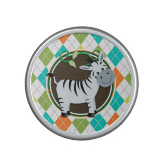 Zebra on Colorful Argyle Pattern Bluetooth Speaker