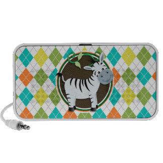 Zebra on Colorful Argyle Pattern Laptop Speaker