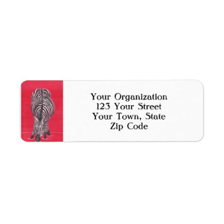 Zebra On Red Return Address Label