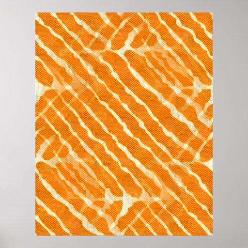 Zebra Orange and White Stripe Poster