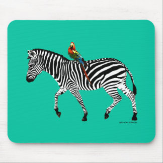 """Zebra & Parrot"" Jade Mousepad"