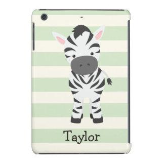 Zebra; Pastel Green Stripes iPad Mini Retina Case