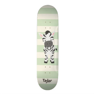 Zebra; Pastel Green Stripes Skateboard Decks
