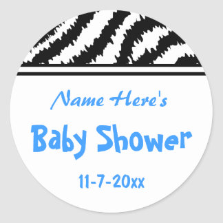 Zebra Pattern Baby Shower. Blue, Black and White. Round Sticker