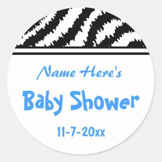 Zebra Pattern Baby Shower. Blue, Black and White. Round Sticker