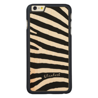 Zebra Pattern, Black & White Stripes, Your Name Carved Maple iPhone 6 Plus Case