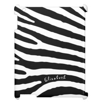 Zebra Pattern, Black & White Stripes, Your Name Cover For The iPad