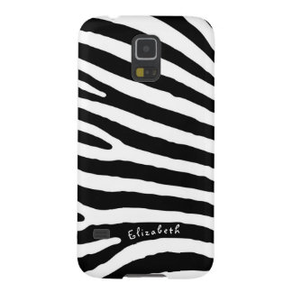Zebra Pattern, Black & White Stripes, Your Name Galaxy S5 Cases