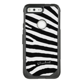 Zebra Pattern, Black & White Stripes, Your Name OtterBox Commuter Google Pixel Case
