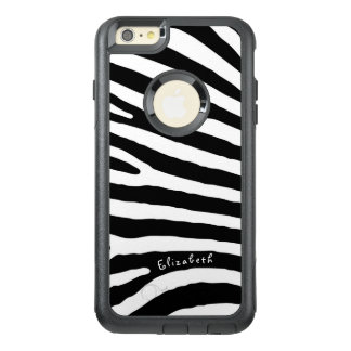 Zebra Pattern, Black & White Stripes, Your Name OtterBox iPhone 6/6s Plus Case