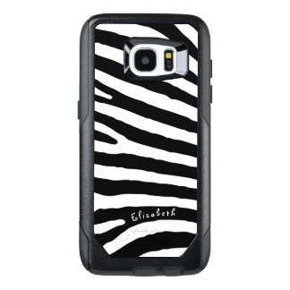 Zebra Pattern, Black & White Stripes, Your Name OtterBox Samsung Galaxy S7 Edge Case