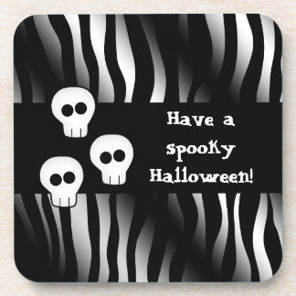 Zebra pattern for Halloween with cute skulls Coasters