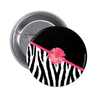 Zebra Pattern Girly Pink Daisy Pin