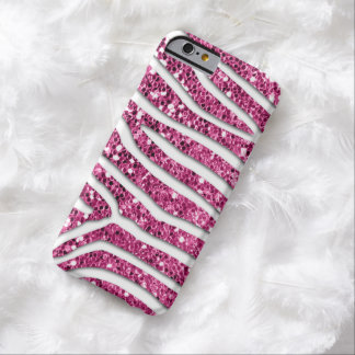 Zebra Pattern in Pink Glitter Look Barely There iPhone 6 Case