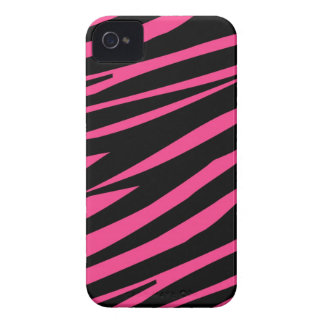 Zebra Pattern Pink Black Case-Mate Blackberry iPhone 4 Covers