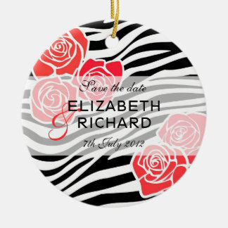 Zebra pattern + red roses Save the Date Ornament