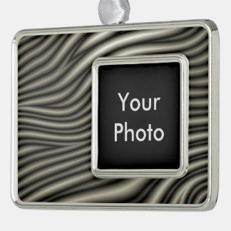Zebra Pattern Silver Plated Framed Ornament
