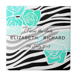 Zebra pattern turquoise roses Save the Date Tile