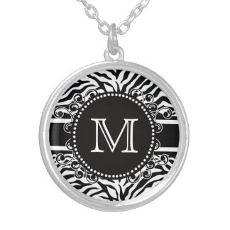 Zebra Pattern with Monogram Cool and Bold Silver Plated Necklace