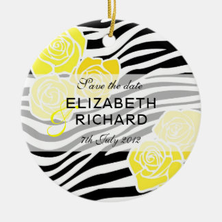 Zebra pattern yellow roses Save the Date Ornament